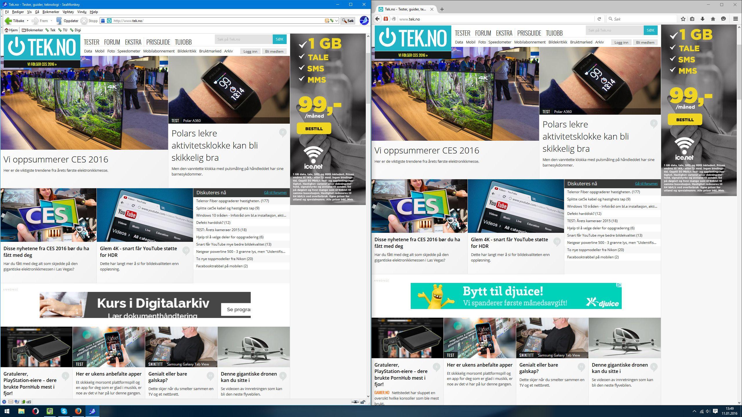 SeaMonkey side ved side med Firefox, nettleseren den oppstod ut av.