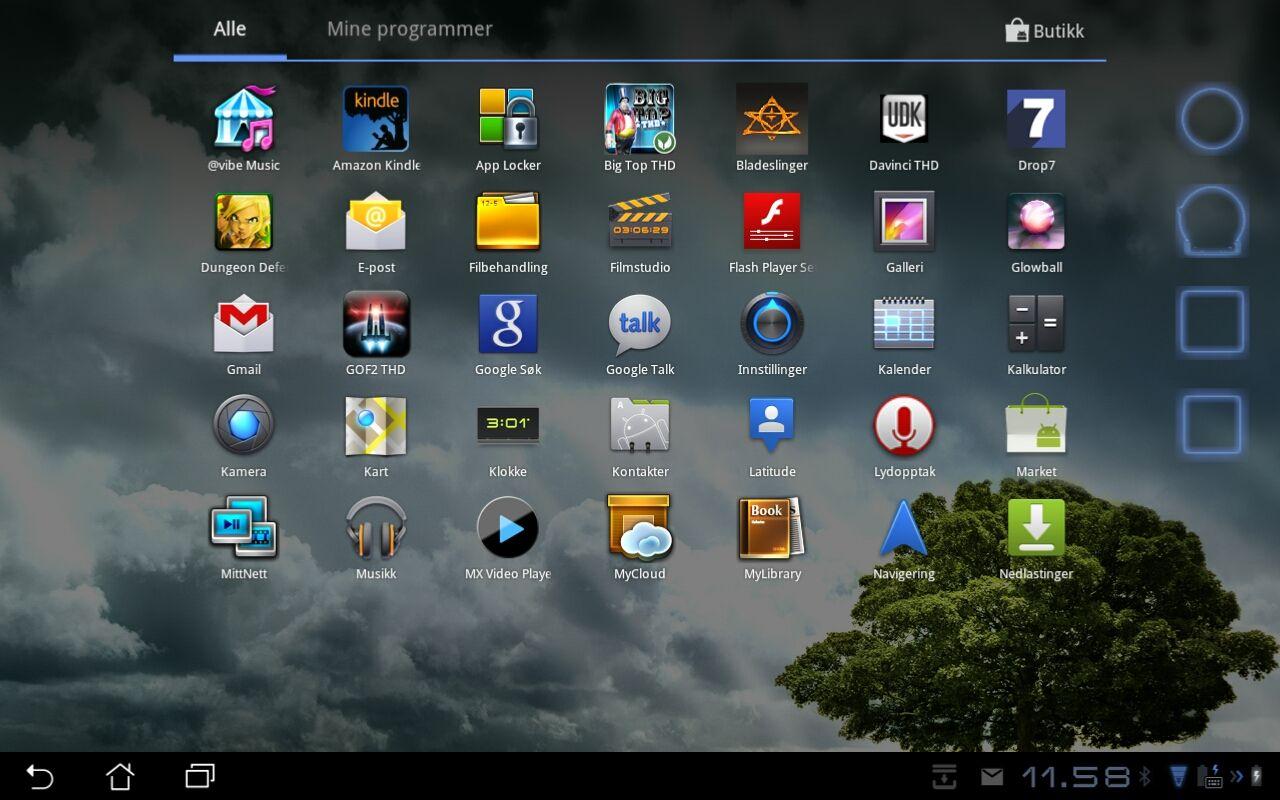 Applikasjonsmenyen er den vi er vant med fra Android 3.2 Honeycomb.