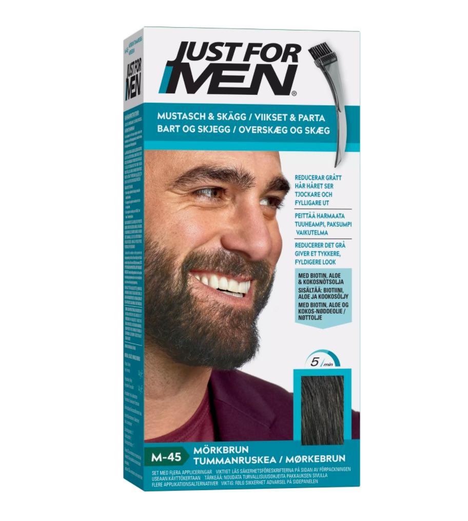 En förpackning Just for men skäggfärg i färgen medium brown.