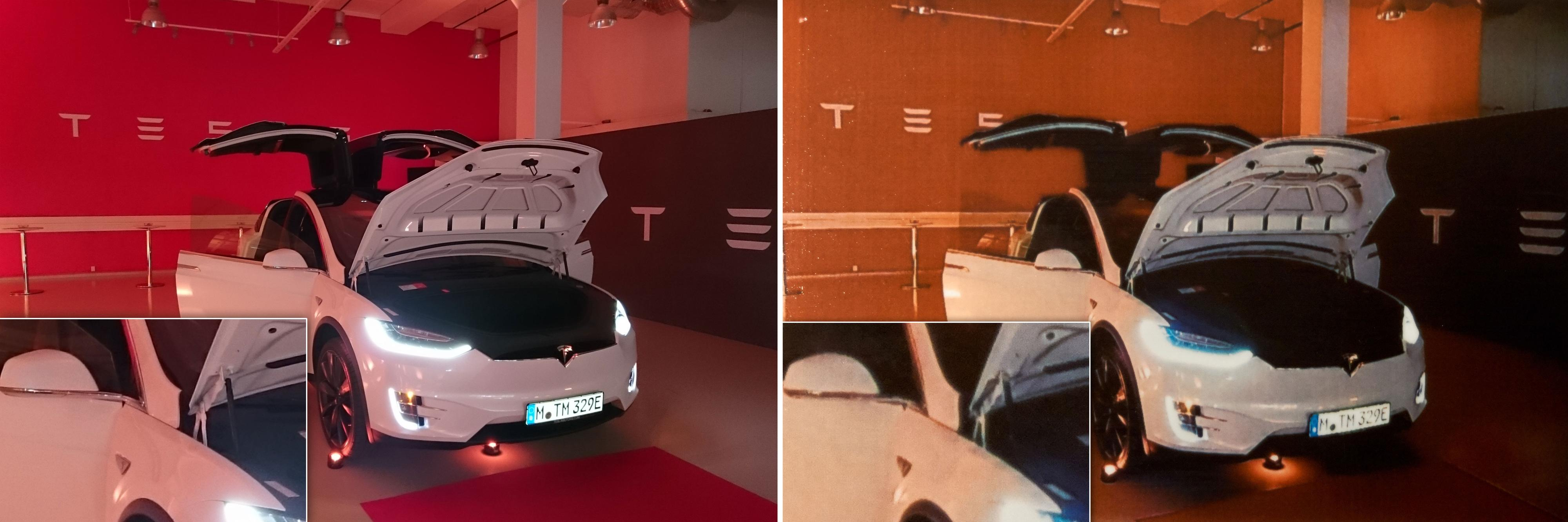 Her har vi gjort et utsnitt som viser kvalitetstapet på et innendørsbilde av en Model X.