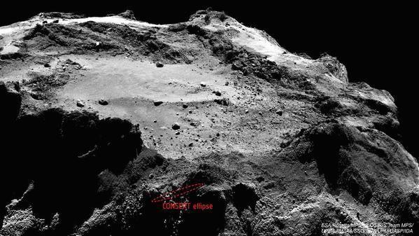Man tror nå at Philae har landet i det merkede området. Litt uheldig med landingsplassen der, altså. Foto: ESA
