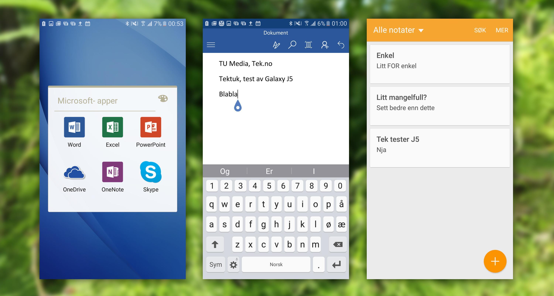 Officepakken fra Microsoft følger med, og fungerer fint. Notatappen til Samsung er litt enkel etter vår smak, og vi ville heller brukt OneNote.