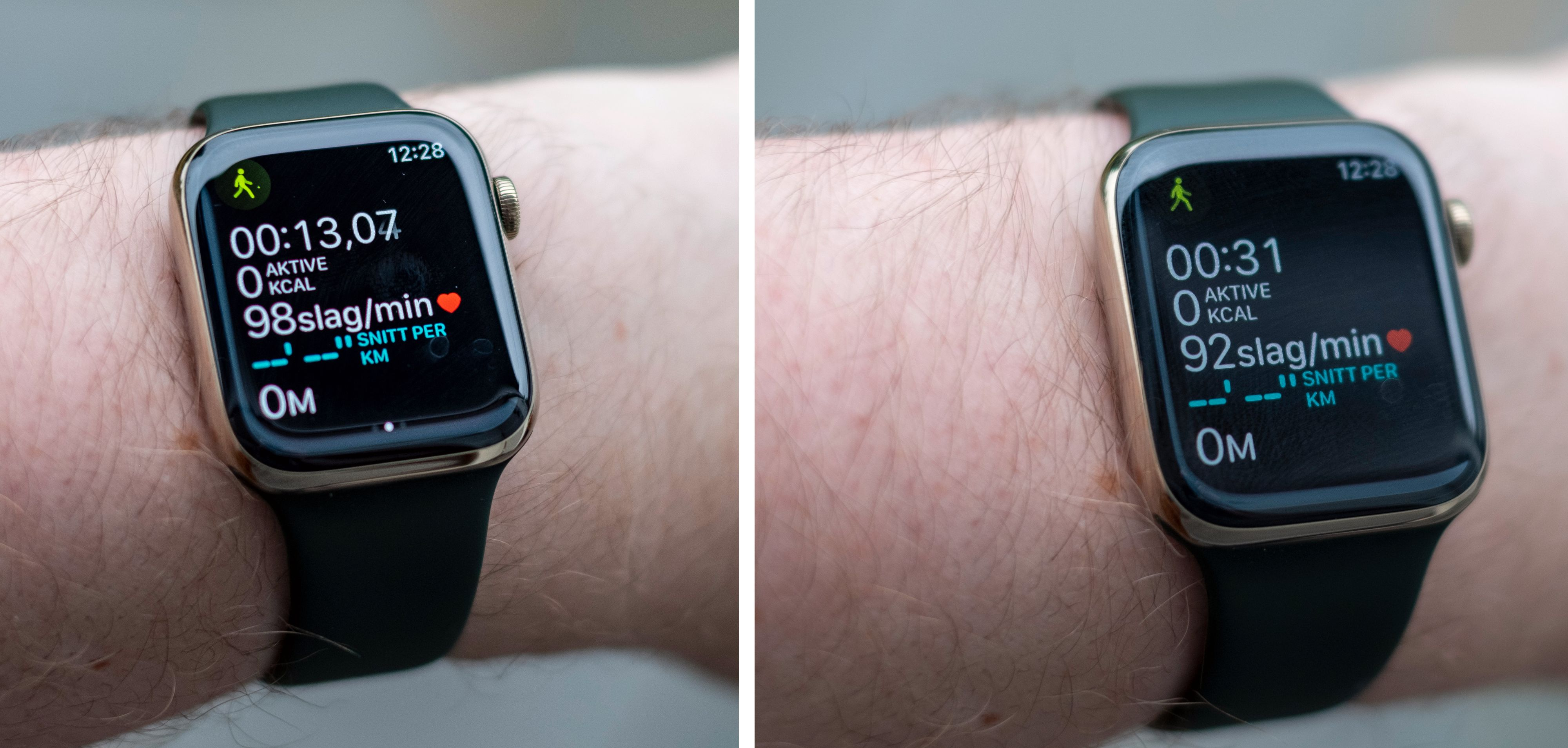 Treningsmodusen fortsetter å vise treningsinformasjon fremfor bare vanlig klokke når du bruker den. En klokke som er såpass appfokusert og smart på andre måter, burde kunne holde styr på treningen i bakgrunnen.