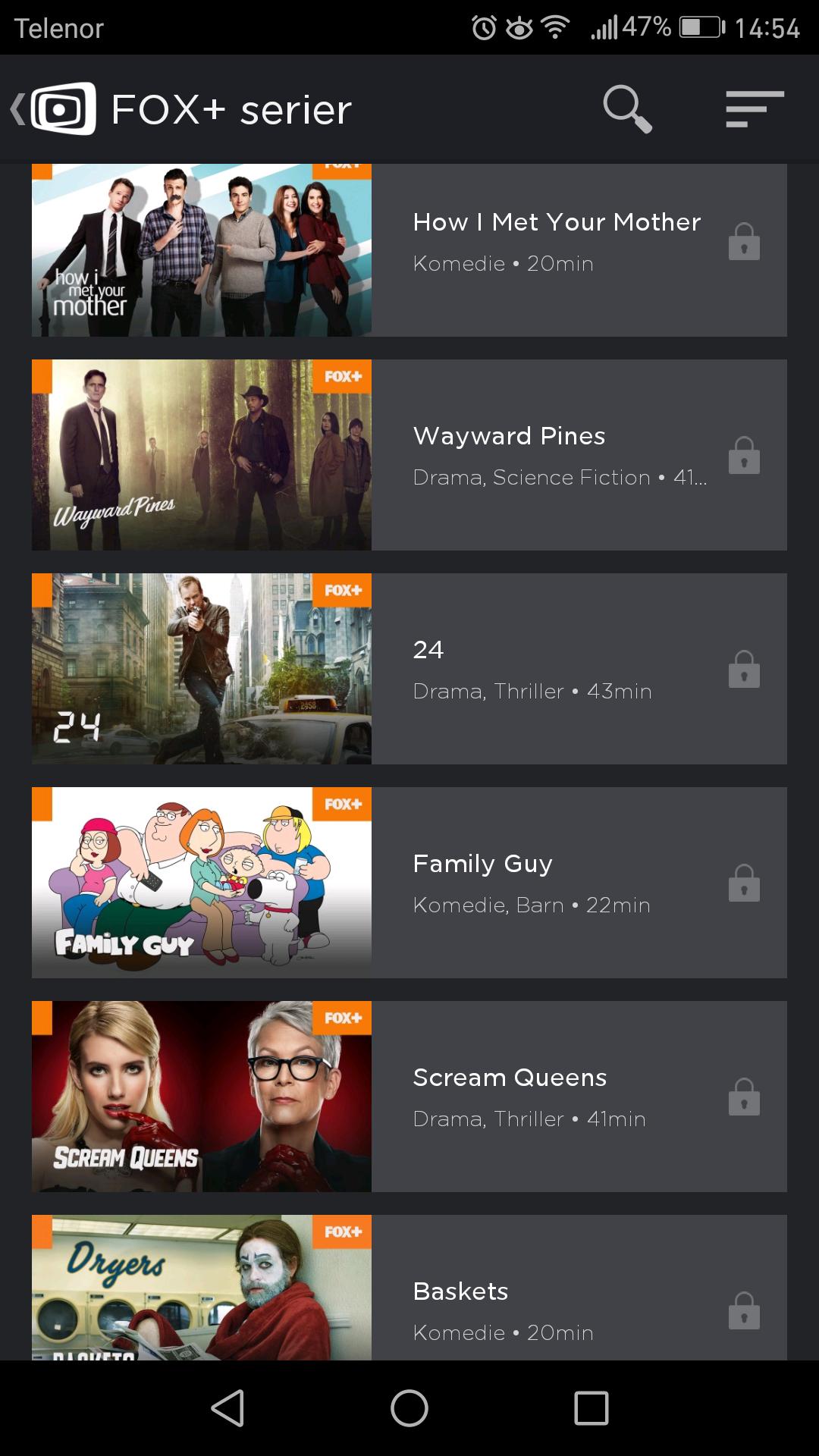 Flere TV-serier ligger klare for strømming fra mobil, nettbrett eller nettleseren.