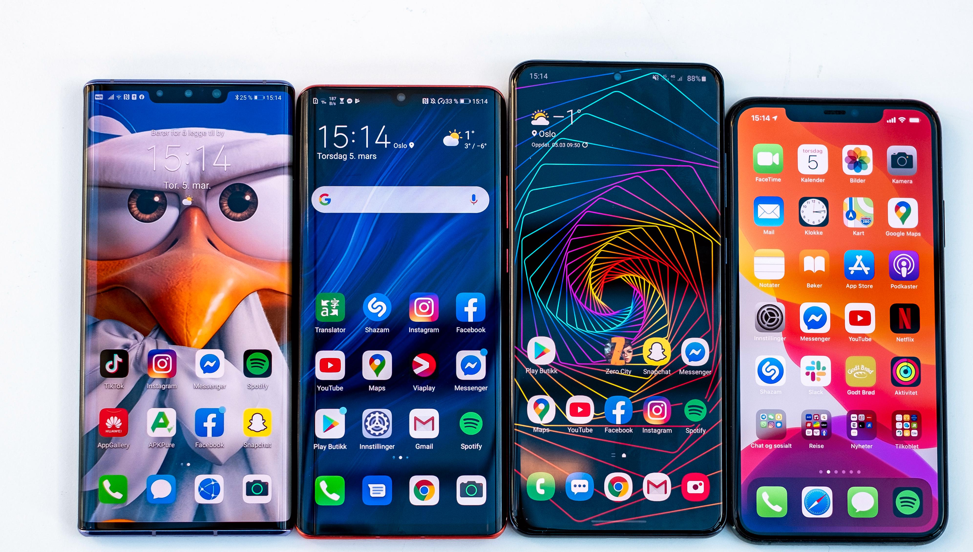 Fra venstre: Huawei Mate 30 Pro, Huawei P30 Pro, Samsung Galaxy S20 Ultra, Apple iPhone 11 Pro Max
