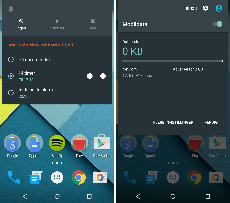 Etter oppdateringen til Android 5.1 kan du deaktivere alle varslinger frem til neste alarm. Forutsatt at neste alarm er innen tolv timer. Foto: Finn Jarle Kvalheim, Tek.noFinn Jarle Kvalheim, Tek.no