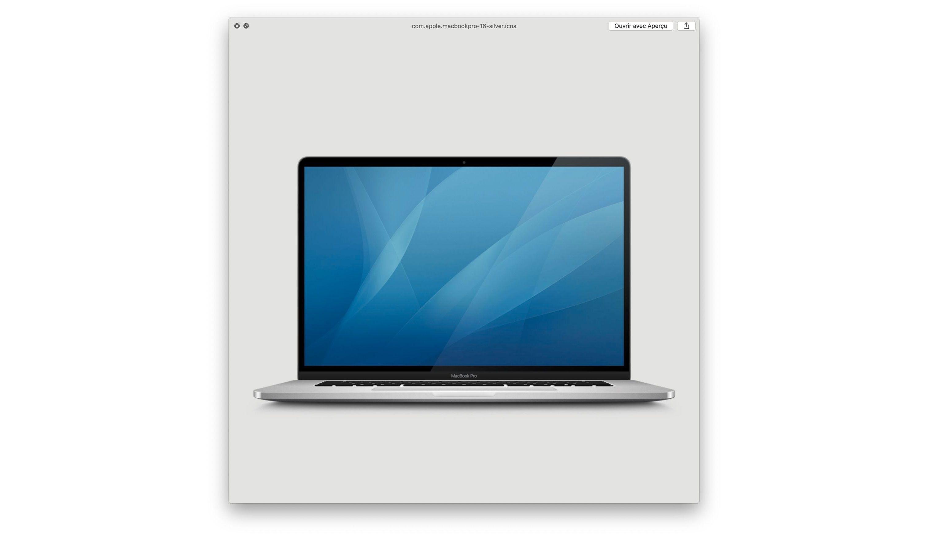 Det franske nettstedet MacGeneration fant dette ikonet i Mac OS Catalina. Bildet har tynnere skjermrammer enn de eksisterende Macbook Pro-ikonene, og dessuten filnavnet «MacbookPro-16».