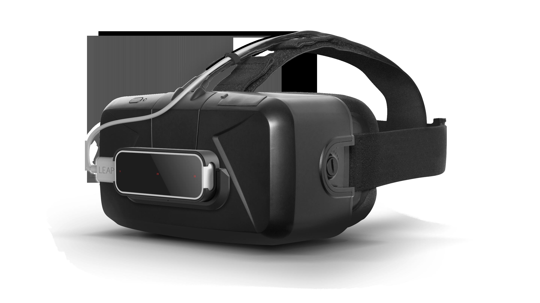 Slik ser det ut når Leap Motion-sensoren festes til Oculus Rift-brillene.Foto: Leap Motion