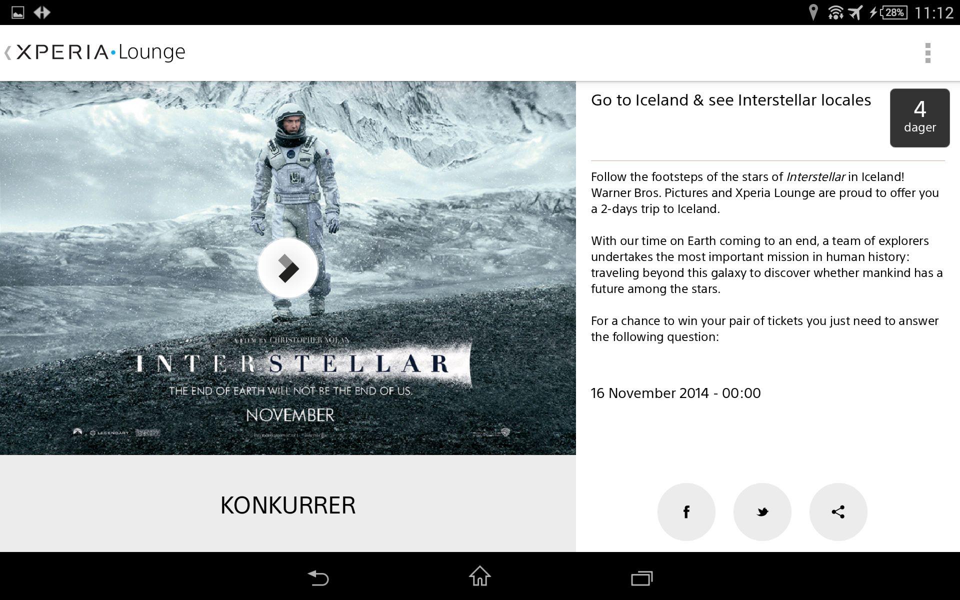 Åpne Xperia Lounge, svar på følgende spørsmål, og du kan vinne todagerstur til Island for å se stedene der filmen Interstellar er filmet. Hvilket spørsmål, Sony?