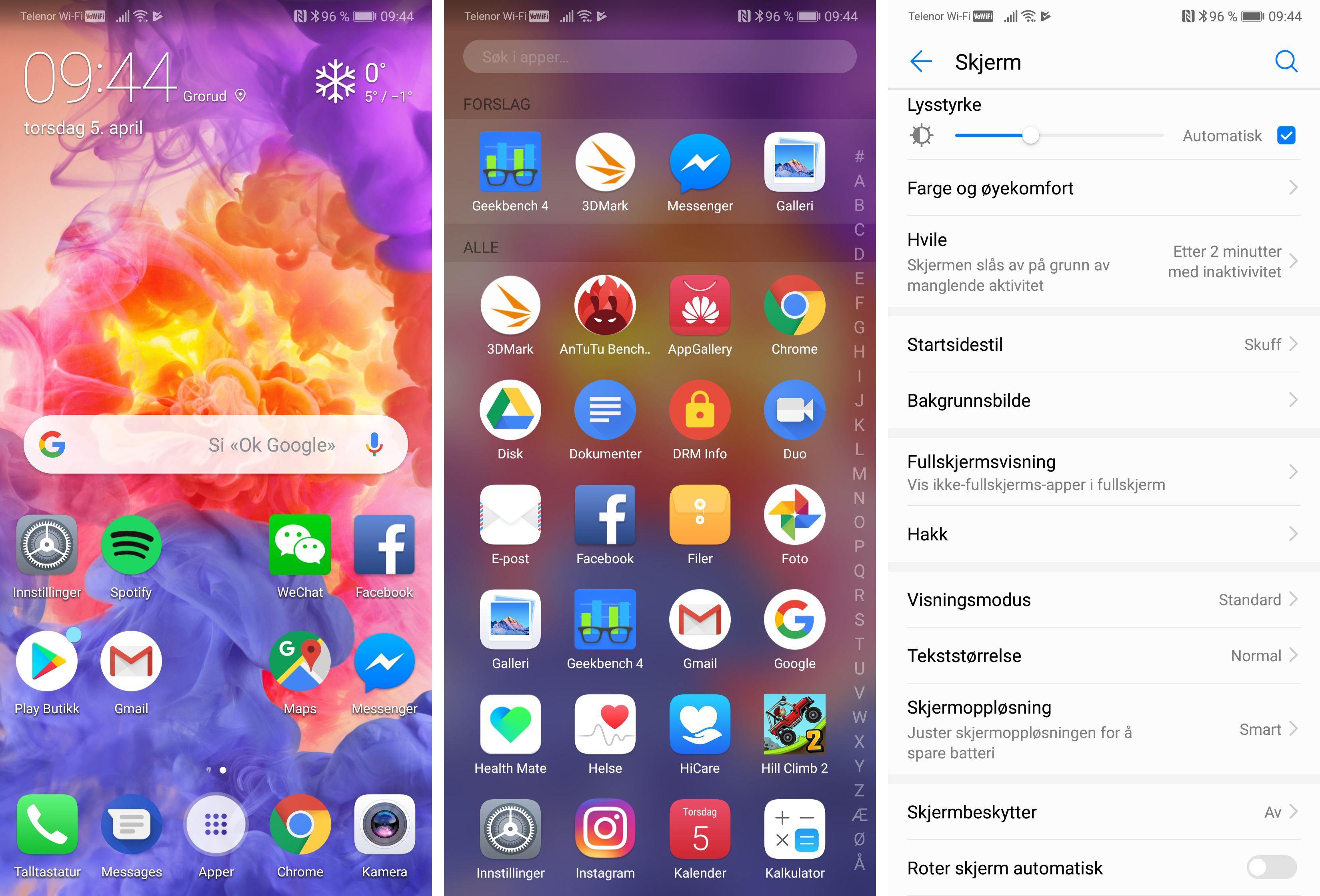 P20 Pro har lekker skjerm og som alltid forsøker de fargerike bakgrunnsbildene å underbygge det. Du kan velge om du vil ha alle appene utover hjemmeskjermene eller om du vil ha tradisjonell appskuff på mobilen, slik jeg har valgt her.