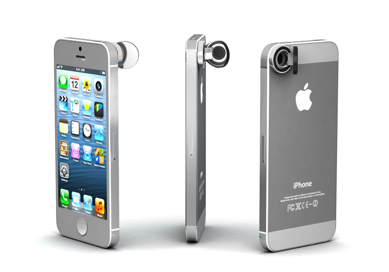 Slik ser Peek-i-objektivet ut når det er festet på en Apple iPhone.Foto: Peek-i