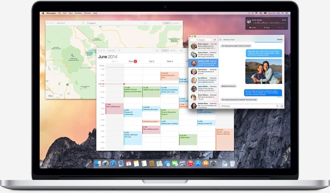 Et oversiktsbilde av nye OS X. Designen er nå mer gjennomsiktig, lettere, og preget av flere rette linjer enn før. Inspirasjonen fra iOS er tydelig.Foto: Apple
