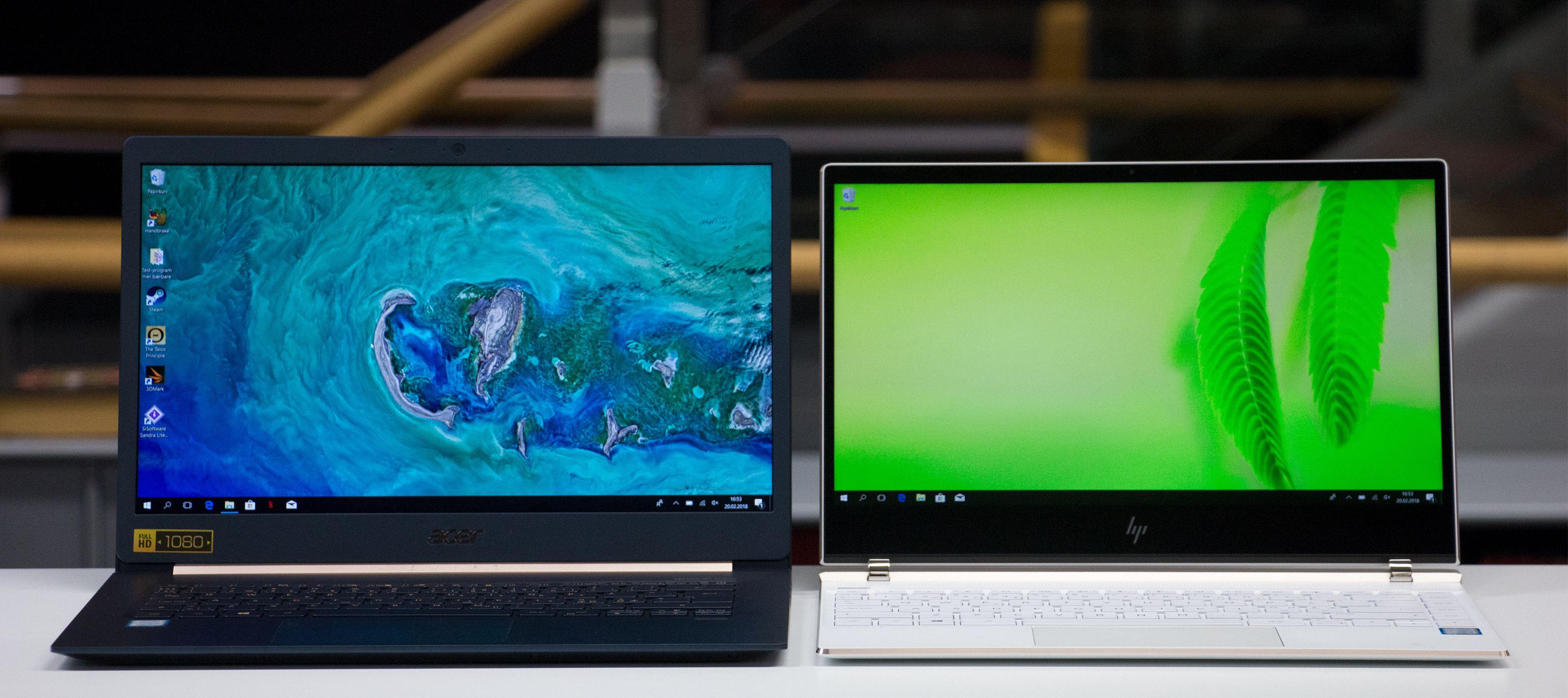 Acer hevder det har fått et 14-tommers panel inn i et 13-tommers skall, men maskinen er beviselig en del større enn HPs kompakte Spectre med 13,3-tommers skjerm.