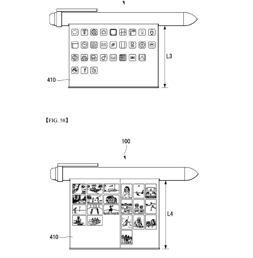 Ett av LGs patenter for en rullbar telefon.
