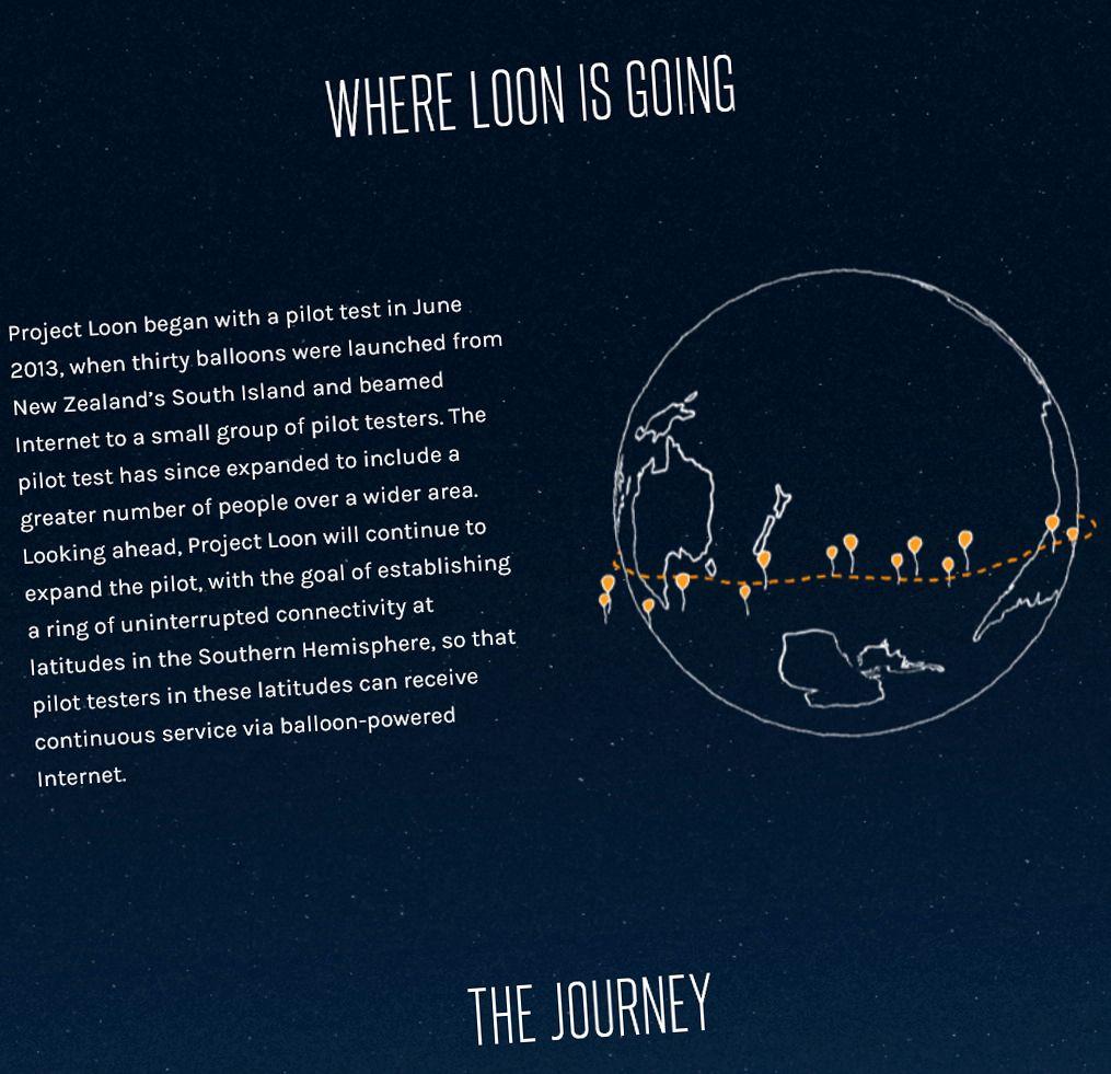 Googles Project Loon skal dele internett via ballonger. Foto: Google/Skjermdump