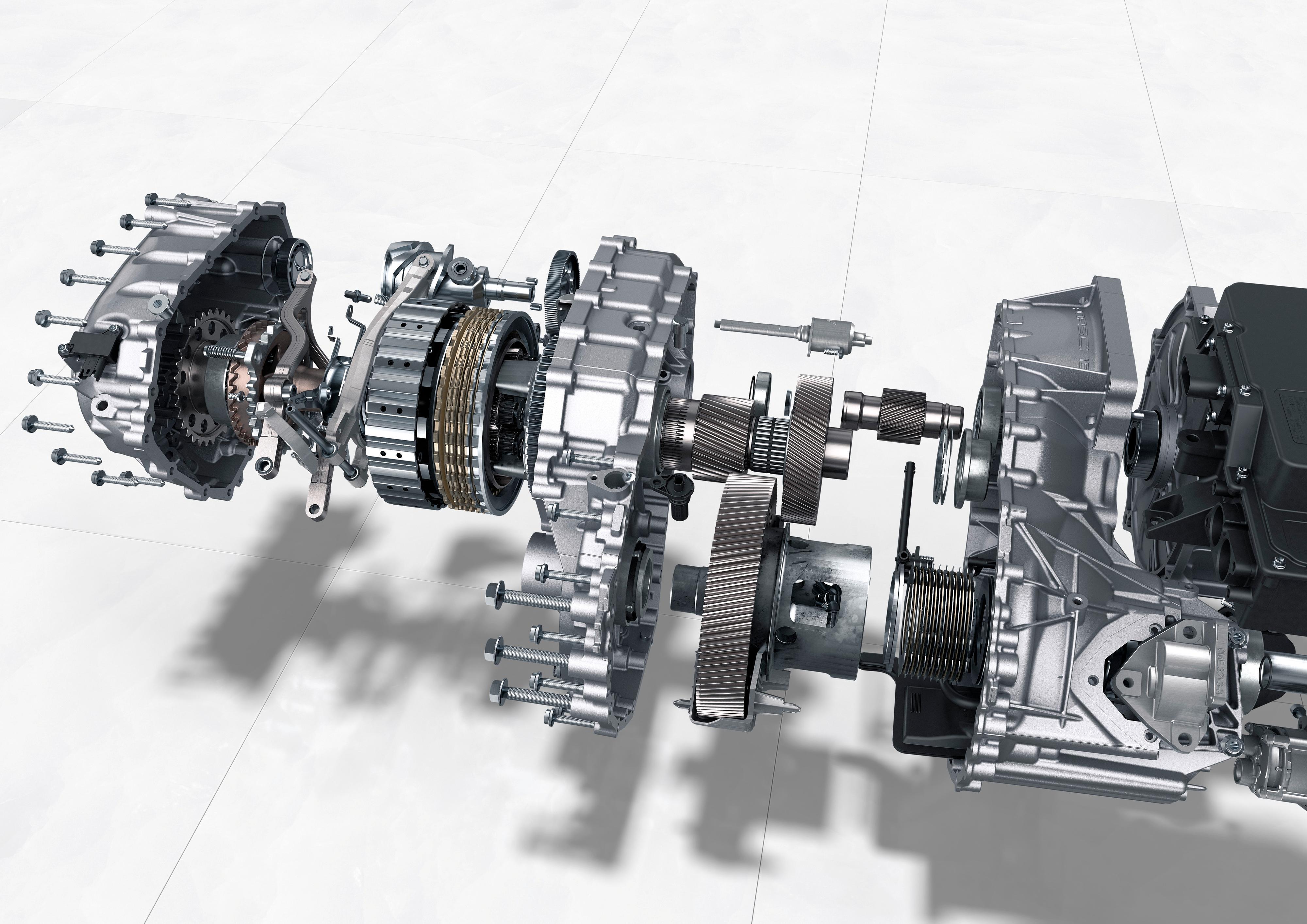 Porsche Taycan får to gir i motoren bak. Førstegiret brukes til rask akselerasjon, andregiret til mer effektiv kjøring i høy fart. Illustrasjon: Porsche