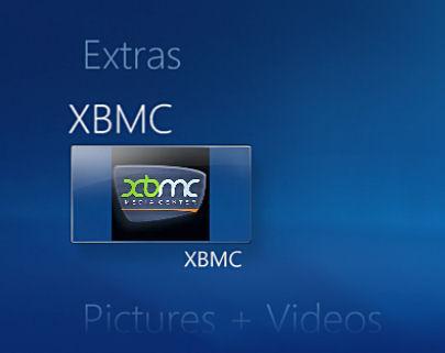 XBMC tilgjengelig fra WMC-menyen