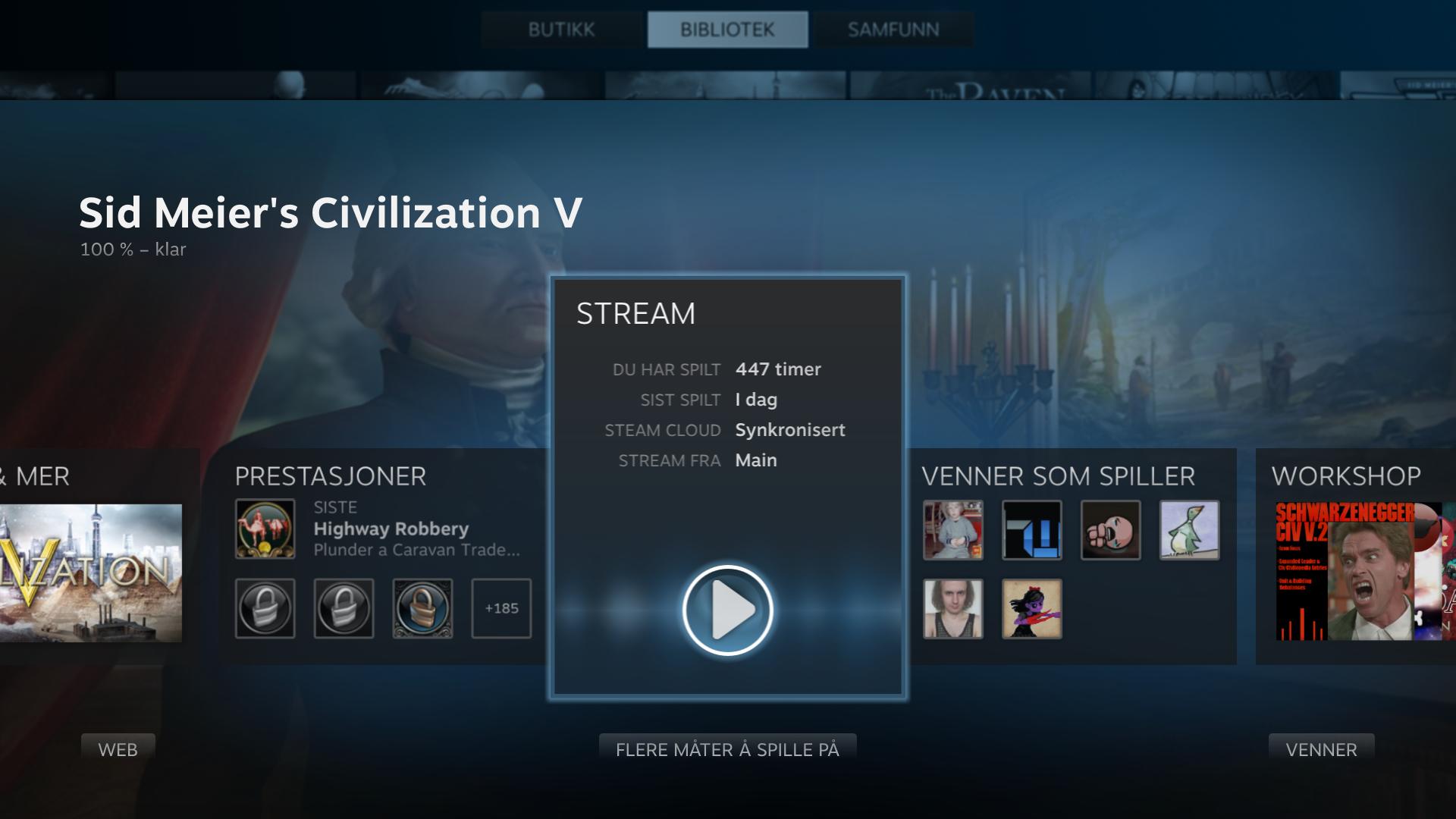 Strømmingen kan også settes opp med Steam i TV-vennlige «Big Picture»-modus.