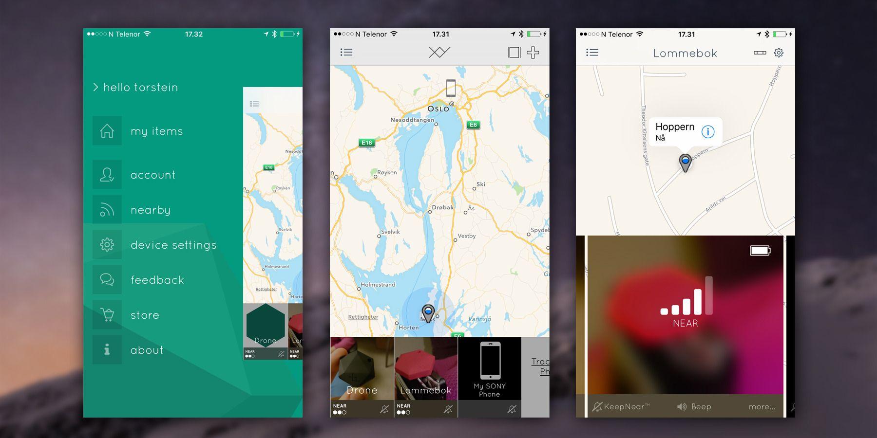 Slik ser hovedmenyene i XY Find It-appen ut på iOS. På Android ligner de sterkt på flere punkter, men med dårligere skalering og mindre kart. Bildet i midten viser oversiktsvisningen, mens bildet til høyre viser enkeltvisningen.