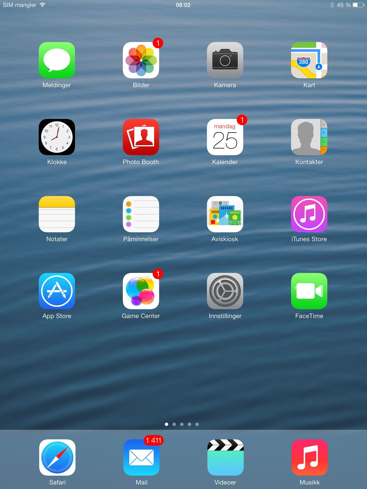 Slik ser appmenyen i iOS 7 ut.Foto: Finn Jarle Kvalheim, Amobil.no