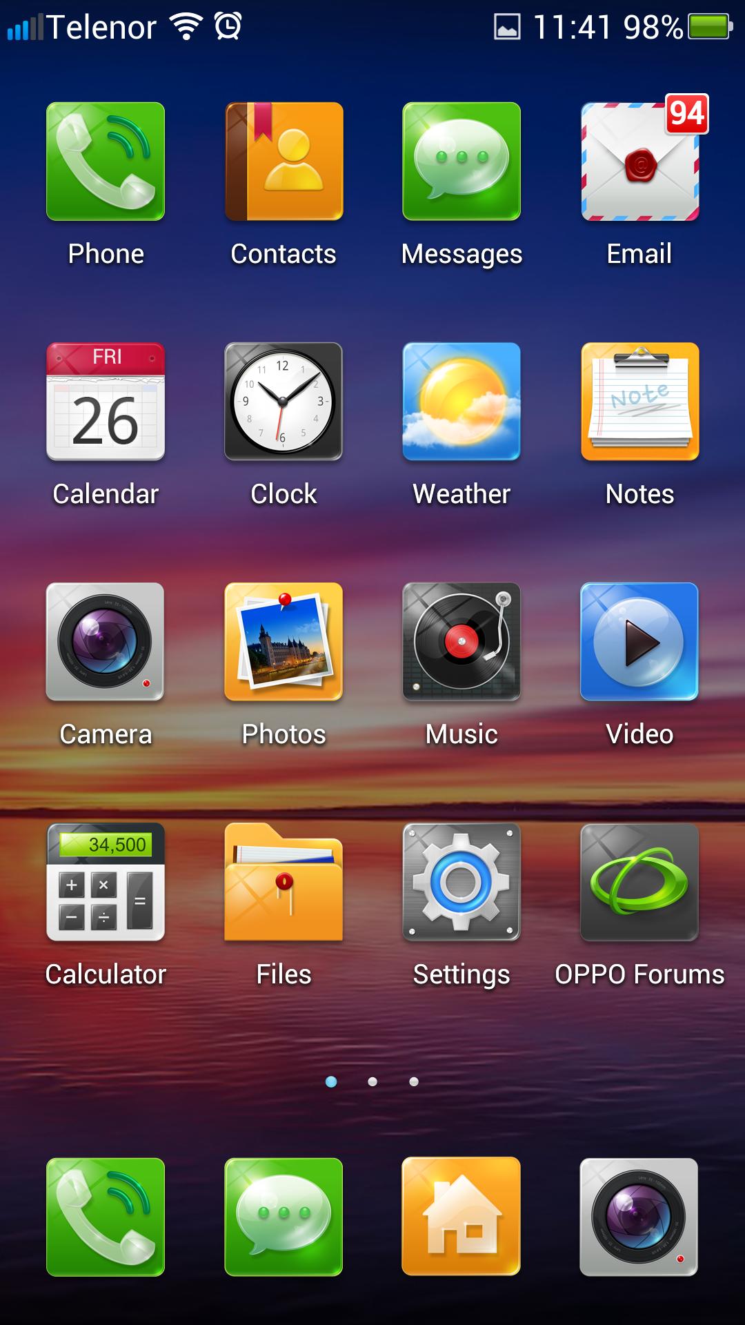 Slik ser Oppos tilpassede utgave av Android ut.