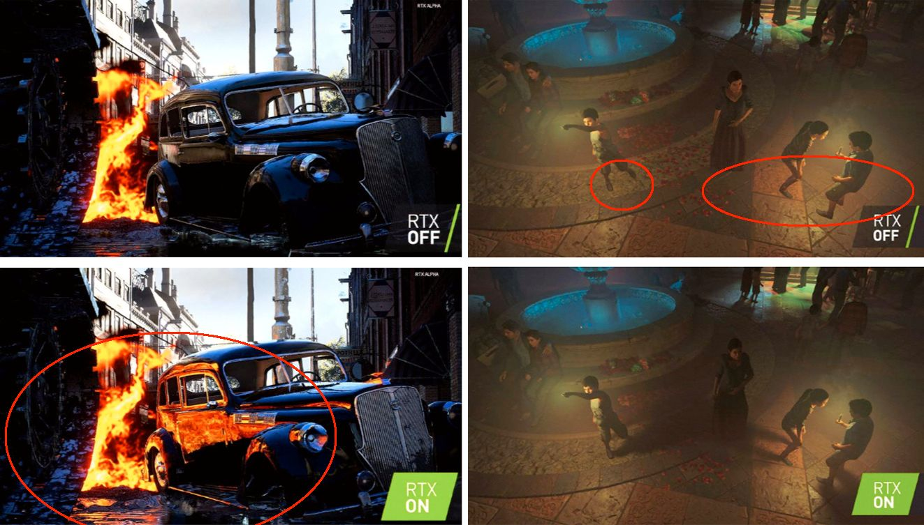 Det er lett a se hva stralesporing bidrar med i Battlefield V til venstre, med refleksjoner i billakken og gaten. I Tomb Raider til hoyre svever figurene ved fontenen over bakken uten riktig skyggelegging, noe stralesporing fikser.