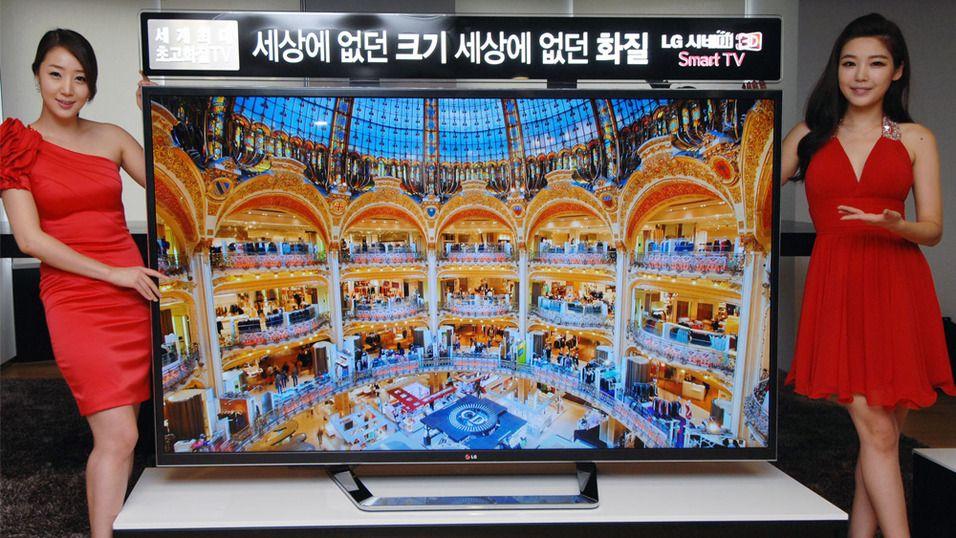 LG har tidligere vist fram denne 84 tommer store 4K-TV-en. Nå får den følge av to mindre utgaver på CES 2013.Foto: LG