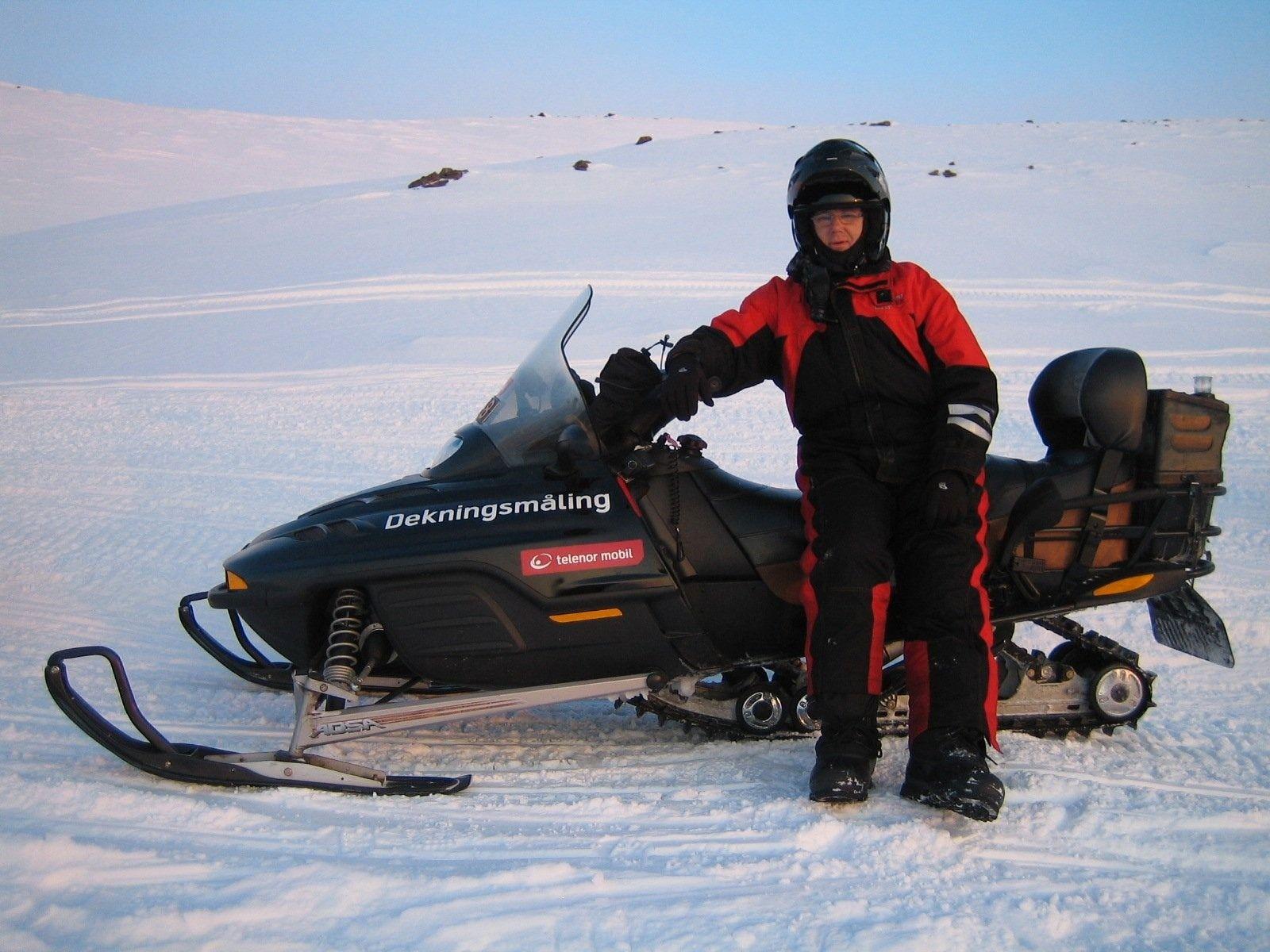 Amundsen bruker Scooter når han skal skal måle dekning til fjells.