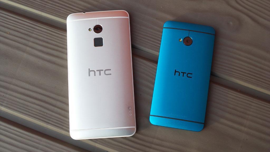 HTC One Max kommer bare i sølvgrått, mens HTC One (til høyre) nå finnes nå i flere spreke farger.Foto: Espen Irwing Swang, Amobil.no