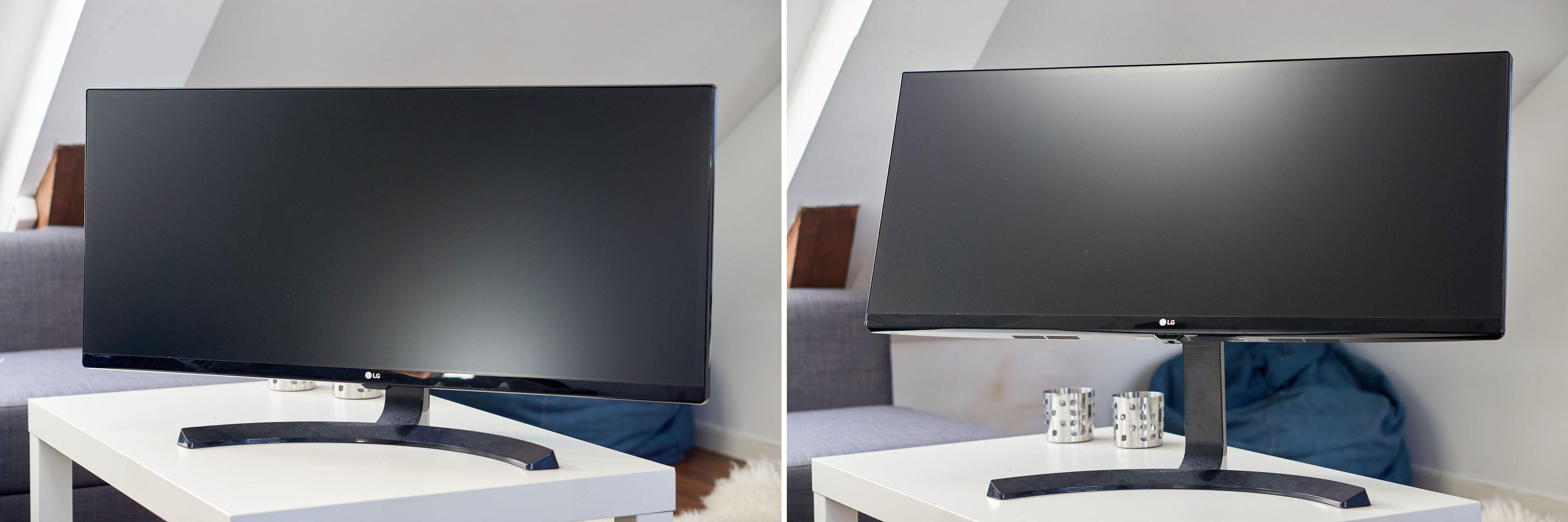 Skjermen kan både vippes fremover og bakover, samt senkes eller heves. I bildet til høyre er posisjonen både maksimal høyde og maksimal tilt fremover.
