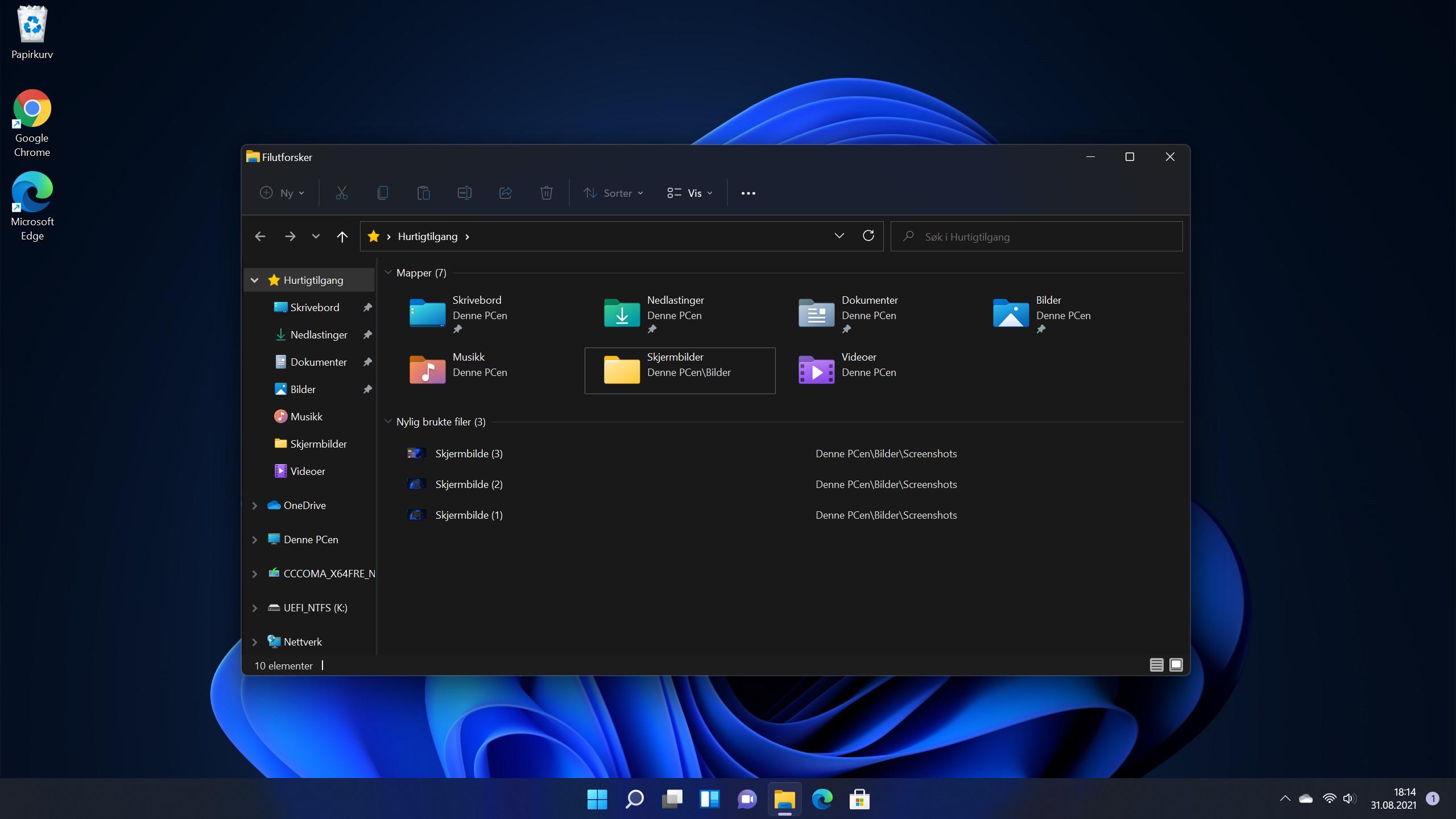 Den nye Utforskeren i Windows 11.