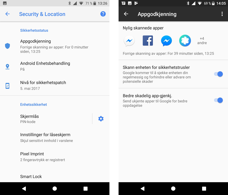 Sikkerhetsfunksjoner er samlet på ett sted, og gir en svært hendig oversikt over hvor trygg enheten er. Her er funksjonaliteten lik mellom Pixel XL og Nexus 6P. Skjermdumpene er fra Pixel. Bilde: Finn Jarle Kvalheim, Tek.no
