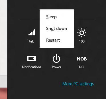 Ved å trykke Windowstast + I kan du lett navigere deg til enten omstart- eller avknappen.