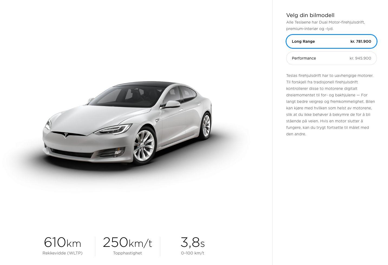 Long Range-modellen er nå den rimeligste varianten av Tesla Model S.