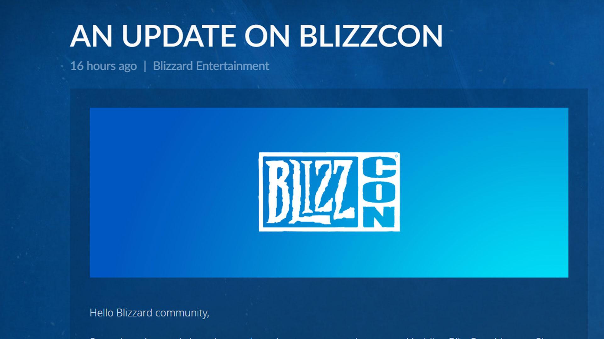 BlizzCon 2020 avlyses