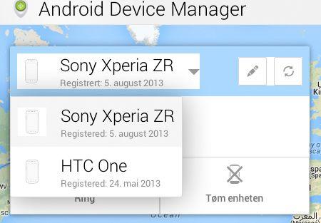 I Android Device Manager får du opp alle enhetene som stotter tjenesten.
