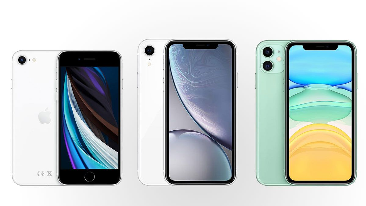 iPhone SE (2. generasjon), iPhone XR og iPhone 11.