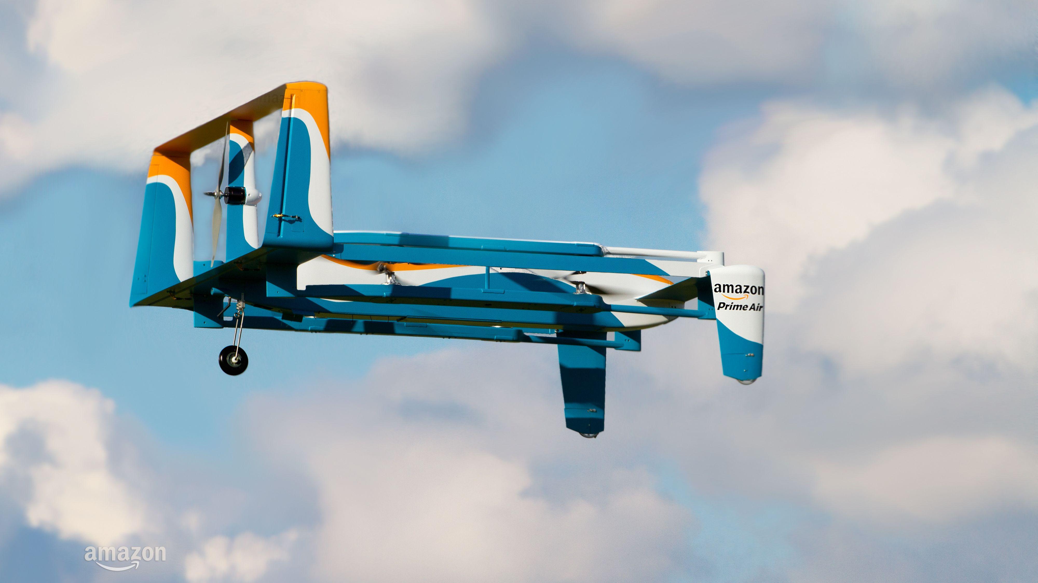 Slik ser Amazons nye leveringsdroner ut.