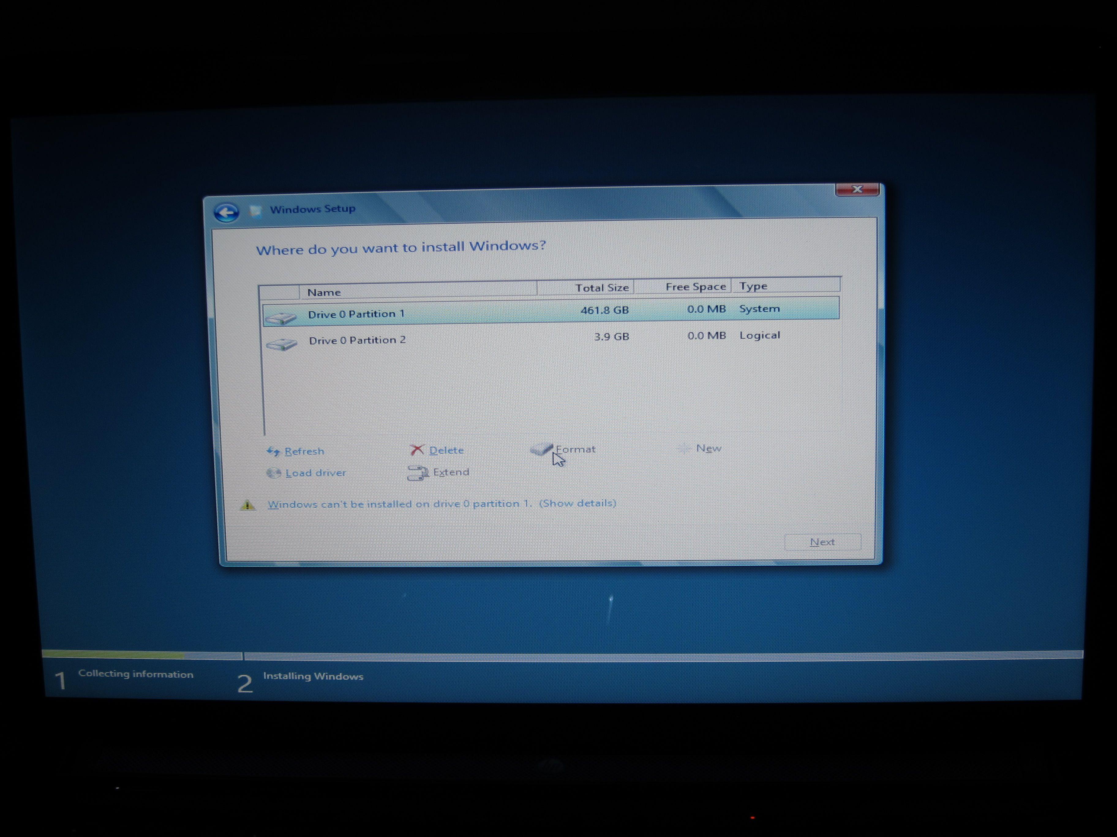Velg hvilken partisjon Windows 8 skal installleres på. Som sagt anbefaler vi å gjøre en