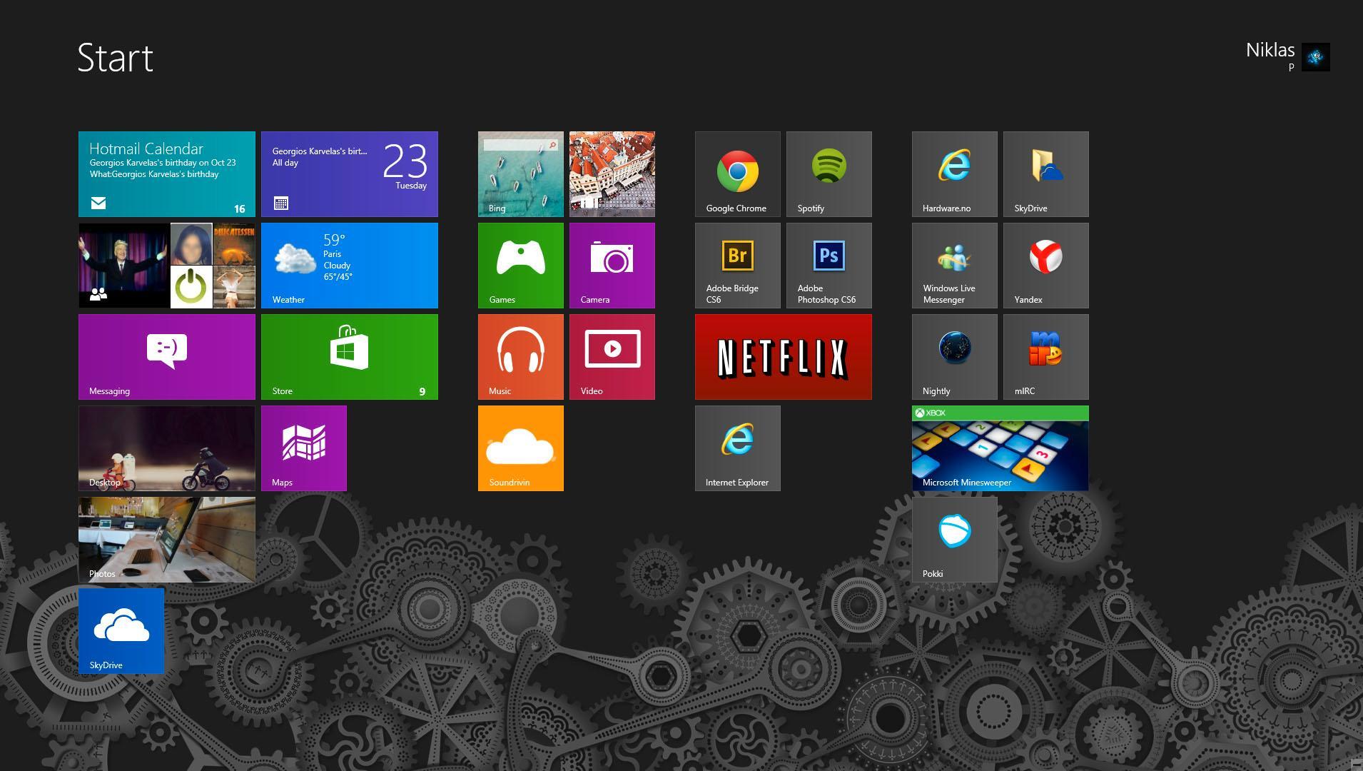 Startskjermen i Windows 8.Foto: Hardware.no