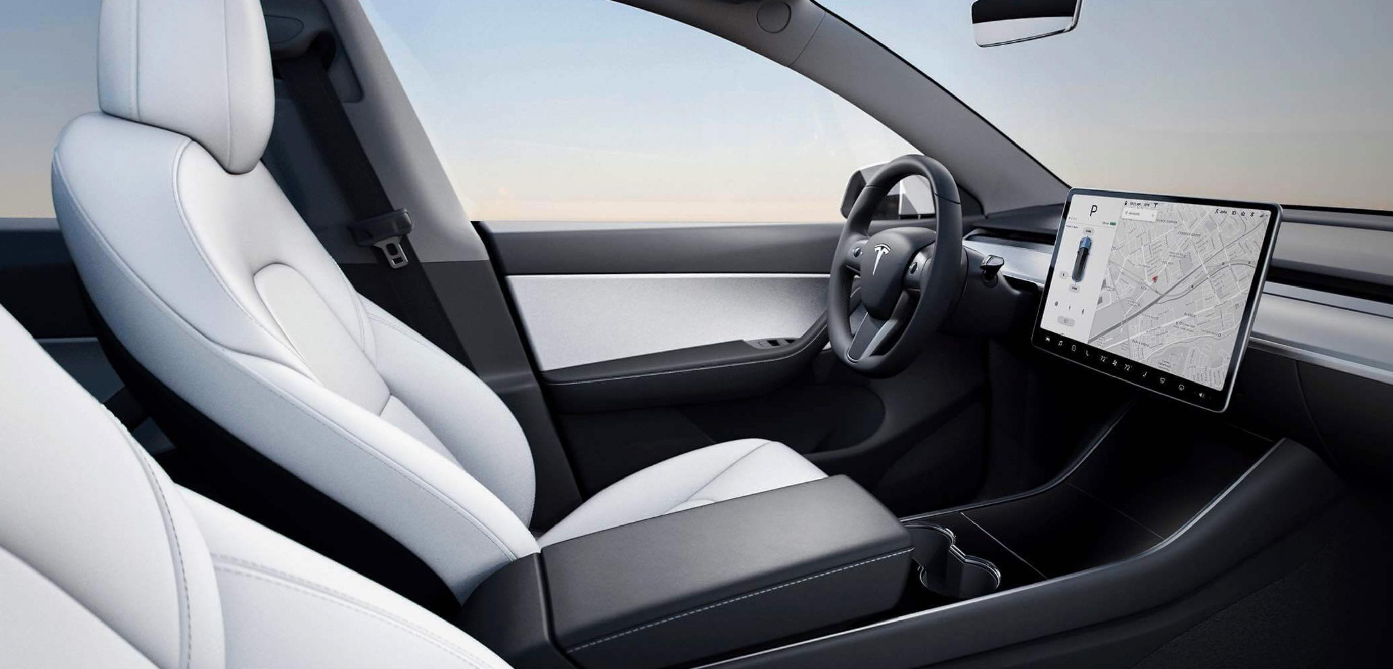 Model Y-interiøret minner veldig om det vi har sett i Model 3. Foto : Tesla