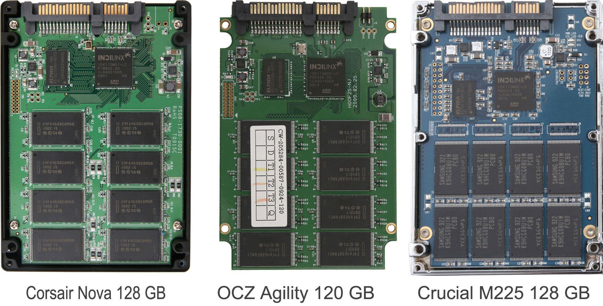 Tre SSD-er fra tre forskjellige produsenter. Likhetene er store på innsiden. Klikk for større versjon.