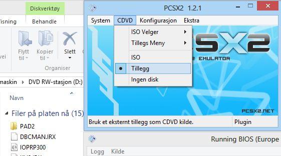 Ved å velge «Tillegg» får du startet spillene dine rett fra DVD-ROM-en.