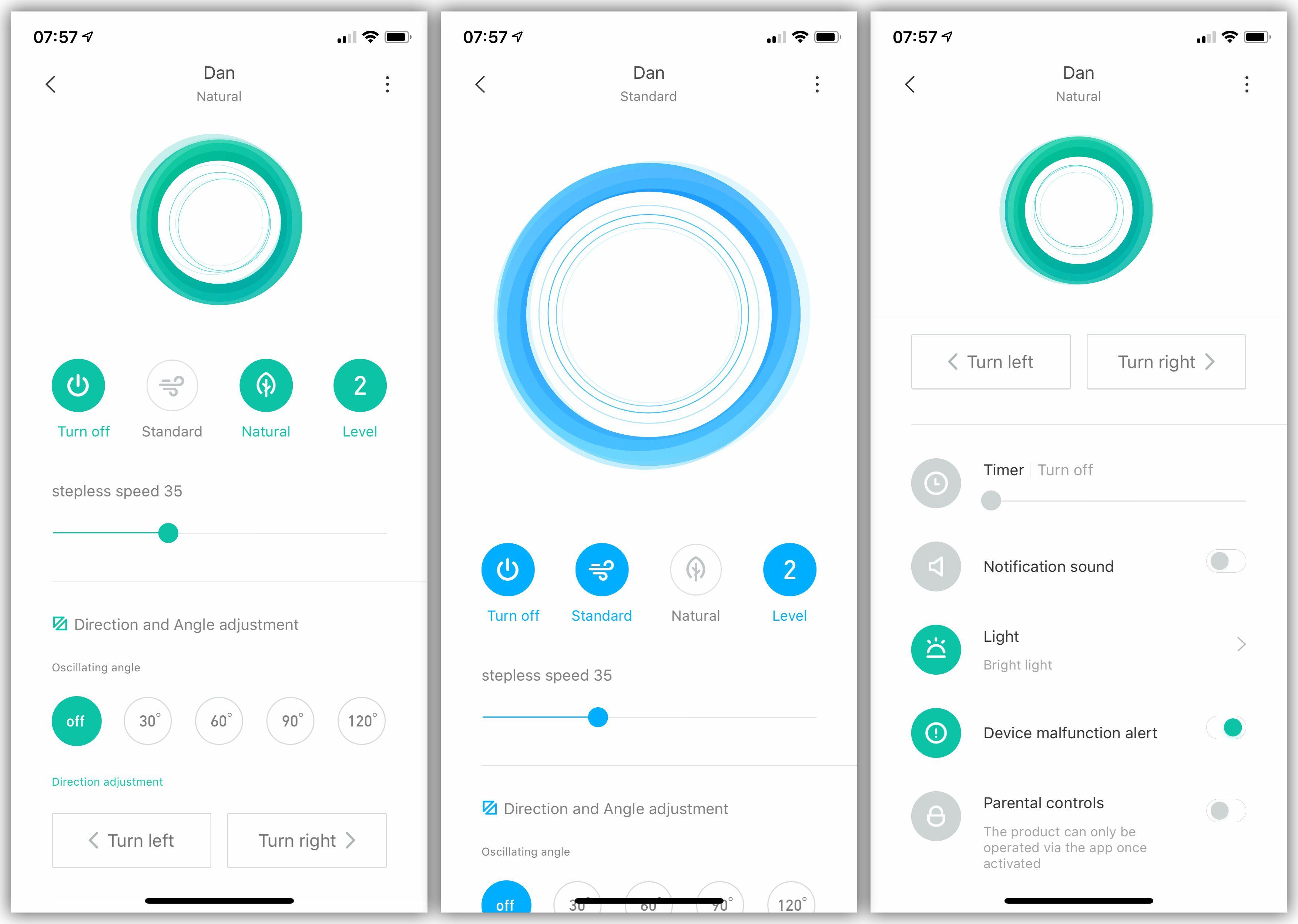 Slik ser appen ut. Den grønne fargen viser at «naturlig» modus er aktivert, mens den blå indikerer «direkte»-modus.