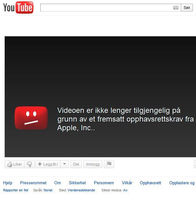 """Den nye rammen ble også vist frem i en Youtube-video. Denne videoen er nå fjernet på grunn av et """"opphavsrettskrav fra Apple, Inc.."""""""