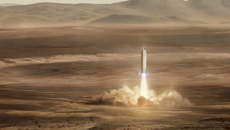 Slik ser SpaceX for seg det kan se ut når en Spaceship-rakett tar av fra Mars.