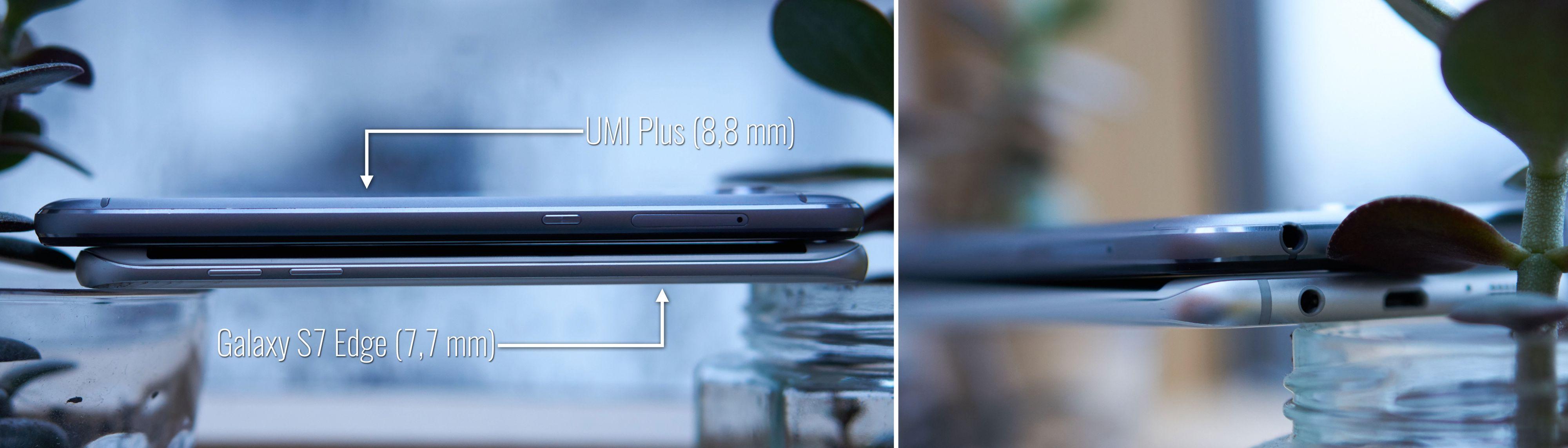 UMi Plus sammenlignet med Galaxy S7 Edge.