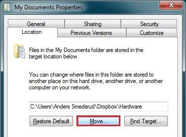 Dropbox kan være standardplassering for Mine Dokumenter. Bare flytt de til Dropbox-mappen din.