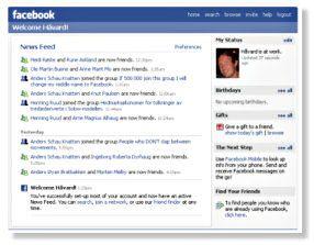 Facebook gir deg løpende oversikt over oppdateringer, som hvem som er venner med hvem, osv.