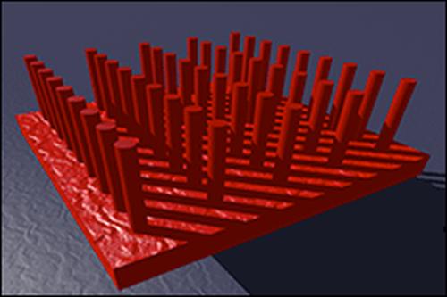 Illustrasjonsbilde av nanostrukturen i solcellene. Foto: UMD